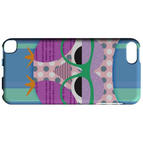 Geeks Designer Line (GDL) Slim Hard Case for Apple iPod Touch 5 - Hipster Owl on Blue/Green Stripes