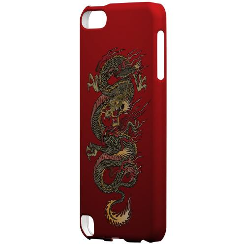 Geeks Designer Line (GDL) Slim Hard Case for Apple iPod Touch 5 - Dragon on Red Gradient
