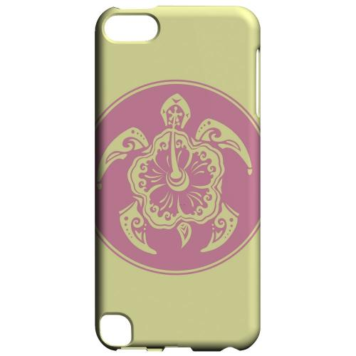 Geeks Designer Line (GDL) Slim Hard Case for Apple iPod Touch 5 - Pink Island Turtle Solo on Yellow