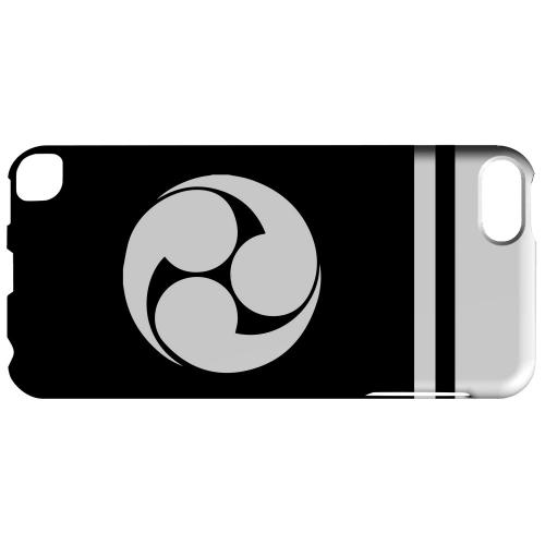 Geeks Designer Line (GDL) Slim Hard Case for Apple iPod Touch 5 - White Tomoe Kamon w/ Stripe v.1