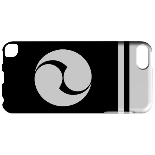 Geeks Designer Line (GDL) Slim Hard Case for Apple iPod Touch 5 - White Tomoe Kamon w/ Stripe v.2