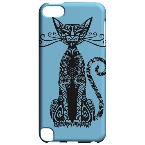 Geeks Designer Line (GDL) Slim Hard Case for Apple iPod Touch 5 - Kitty Nouveau on Light Blue