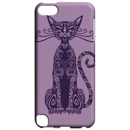 Geeks Designer Line (GDL) Slim Hard Case for Apple iPod Touch 5 - Kitty Nouveau on Purple