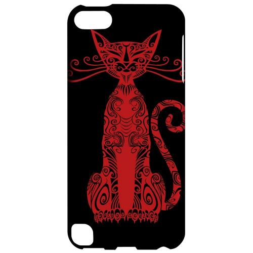 Geeks Designer Line (GDL) Slim Hard Case for Apple iPod Touch 5 - Red Kitty Nouveau on Black