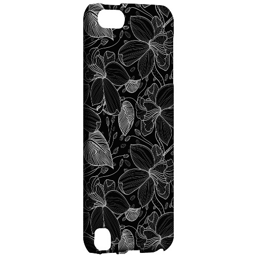 Geeks Designer Line (GDL) Slim Hard Case for Apple iPod Touch 5 - White on Black Orchid Lines