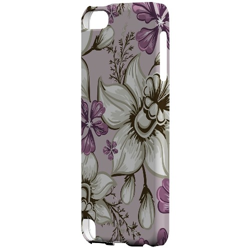 Geeks Designer Line (GDL) Slim Hard Case for Apple iPod Touch 5 - White and Violet Orchids