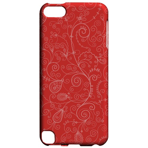 Geeks Designer Line (GDL) Slim Hard Case for Apple iPod Touch 5 - Floral 1 Poppy Red