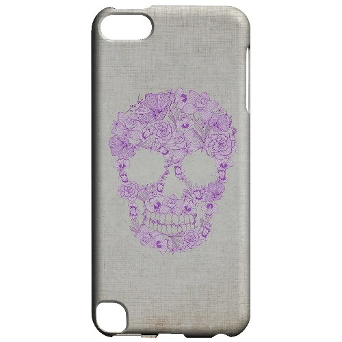 Geeks Designer Line (GDL) Slim Hard Case for Apple iPod Touch 5 - Floral Violet Skull on Canvas