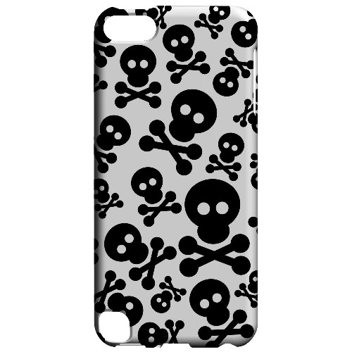 Geeks Designer Line (GDL) Slim Hard Case for Apple iPod Touch 5 - Skull Face Invasion Black on White