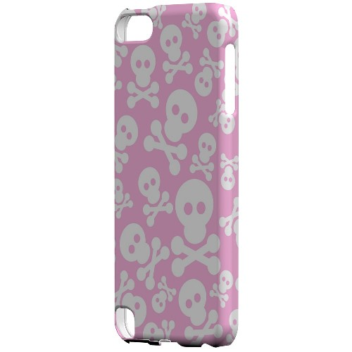 Geeks Designer Line (GDL) Slim Hard Case for Apple iPod Touch 5 - Skull Face Invasion White on Pink