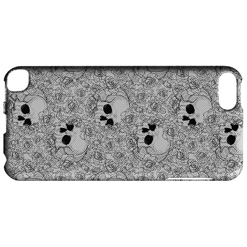 Geeks Designer Line (GDL) Slim Hard Case for Apple iPod Touch 5 - Thorn Skull Black White Halftone