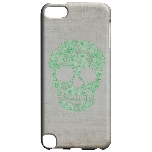 Geeks Designer Line (GDL) Slim Hard Case for Apple iPod Touch 5 - Floral Green Skull on Canvas