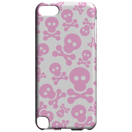 Geeks Designer Line (GDL) Slim Hard Case for Apple iPod Touch 5 - Skull Face Invasion Pink on White