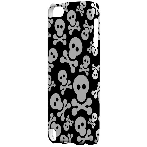 Geeks Designer Line (GDL) Slim Hard Case for Apple iPod Touch 5 - Skull Face Invasion White on Black