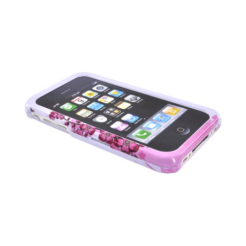 Apple iPhone 3G 3GS Hard Back Cover Case - Pink Cherry Blossoms on White