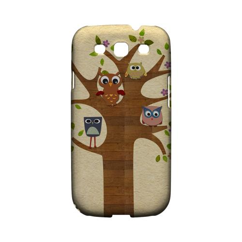 Geeks Designer Line (GDL) Owl Series Samsung Galaxy S3 Matte Hard Back Cover - Owls On Brown Tree