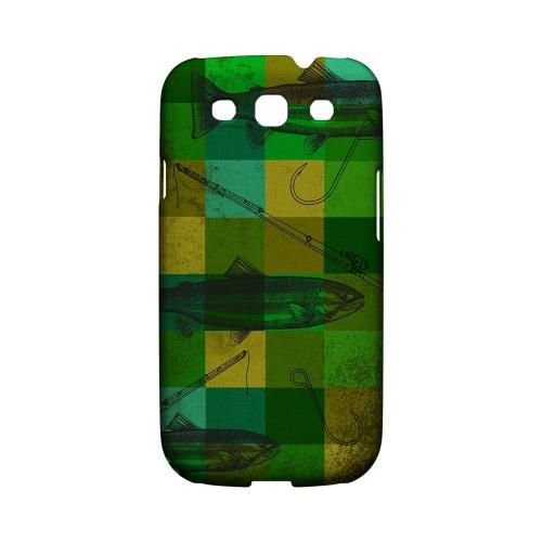 Geeks Designer Line (GDL) Fish Series Samsung Galaxy S3 Matte Hard Back Cover - Green Plaid Trout Design