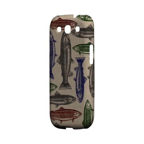 Geeks Designer Line (GDL) Fish Series Samsung Galaxy S3 Matte Hard Back Cover - Colorful Salmon & Trout Print