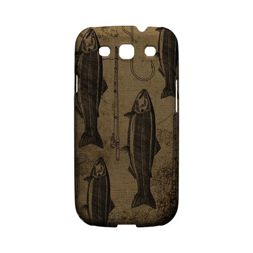 Geeks Designer Line (GDL) Fish Series Samsung Galaxy S3 Matte Hard Back Cover - Vintage Salmon/Hook/Pole Print