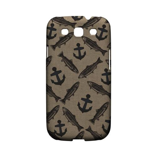 Geeks Designer Line (GDL) Fish Series Samsung Galaxy S3 Matte Hard Back Cover - Vintage Salmon/Trout/Anchor Design