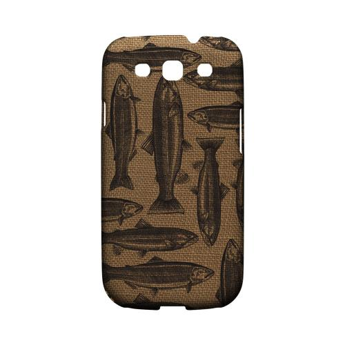 Geeks Designer Line (GDL) Fish Series Samsung Galaxy S3 Matte Hard Back Cover - Vintage Salmon & Trout on Burlap