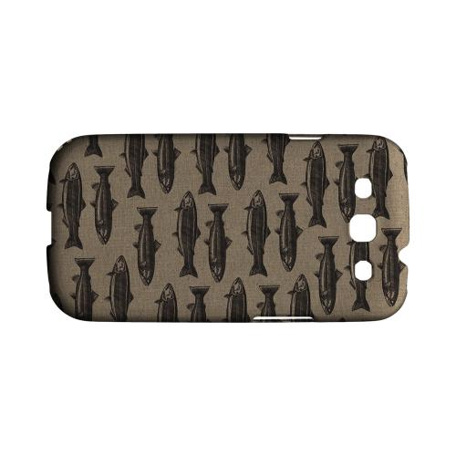Geeks Designer Line (GDL) Fish Series Samsung Galaxy S3 Matte Hard Back Cover - Vintage Salmon & Trout Print