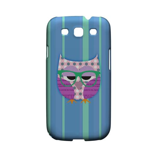 Geeks Designer Line (GDL) Owl Series Samsung Galaxy S3 Matte Hard Back Cover - Hipster Owl on Blue/Green Stripes