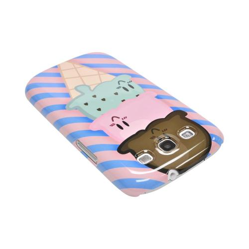 Geeks Designer Line (GDL) Samsung Galaxy S3 Matte Hard Back Cover - Triple Scoop Ice Cream Cone