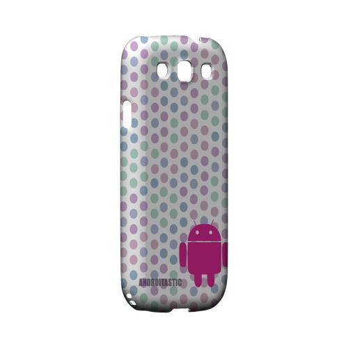 Geeks Designer Line (GDL) Androitastic Samsung Galaxy S3 Matte Hard Back Cover -  Pink Robot on Pastel Polka Dots