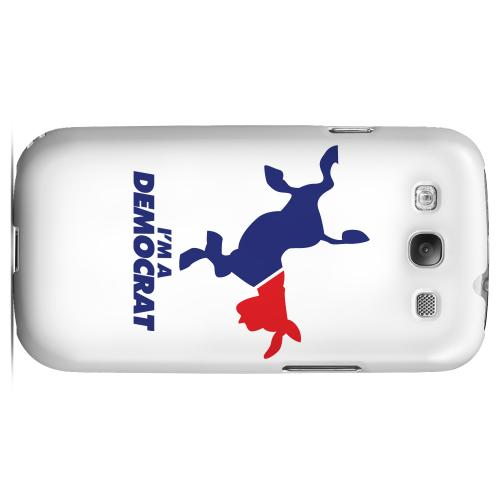 Geeks Designer Line (GDL) 2012 Election Series Samsung Galaxy S3 Matte Hard Back Cover - Red/ Blue Kicking Donkey