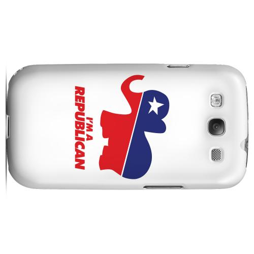 Geeks Designer Line (GDL) 2012 Election Series Samsung Galaxy S3 Matte Hard Back Cover - Red/ Blue Republican Elephant