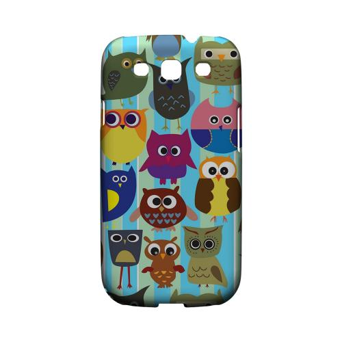 Geeks Designer Line (GDL) Owl Series Samsung Galaxy S3 Matte Hard Back Cover - Colorful Owls on Blue/ Green Stripes