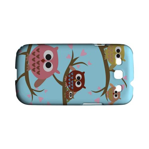 Geeks Designer Line (GDL) Owl Series Samsung Galaxy S3 Matte Hard Back Cover - Round Owl Hangout
