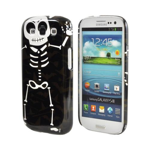 Geeks Designer Line (GDL) Samsung Galaxy S3 Matte Hard Back Cover - Dancing Skeleton on Witch Hat/Broom/Bat