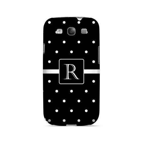 R on Classic Mini Polka Dots - Geeks Designer Line Monogram Series Matte Case for Samsung Galaxy S3