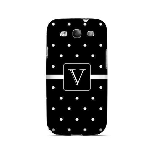 V on Classic Mini Polka Dots - Geeks Designer Line Monogram Series Matte Case for Samsung Galaxy S3