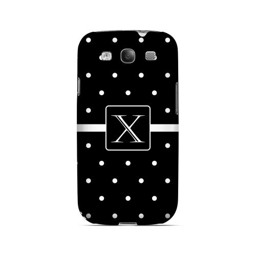 X on Classic Mini Polka Dots - Geeks Designer Line Monogram Series Matte Case for Samsung Galaxy S3