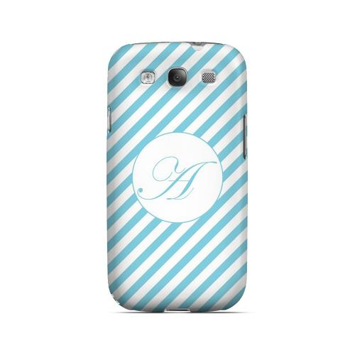 Calligraphy A on Mint Slanted Stripes - Geeks Designer Line Monogram Series Matte Case for Samsung Galaxy S3