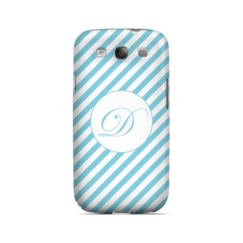 Calligraphy D on Mint Slanted Stripes - Geeks Designer Line Monogram Series Matte Case for Samsung Galaxy S3