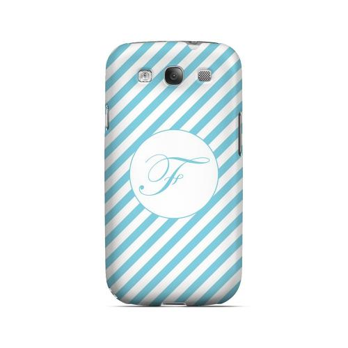 Calligraphy F on Mint Slanted Stripes - Geeks Designer Line Monogram Series Matte Case for Samsung Galaxy S3