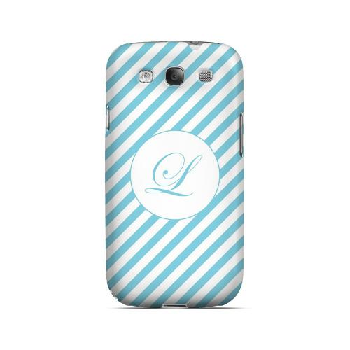 Calligraphy L on Mint Slanted Stripes - Geeks Designer Line Monogram Series Matte Case for Samsung Galaxy S3