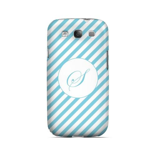 Calligraphy S on Mint Slanted Stripes - Geeks Designer Line Monogram Series Matte Case for Samsung Galaxy S3