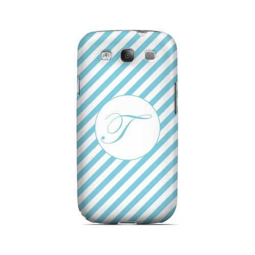 Calligraphy T on Mint Slanted Stripes - Geeks Designer Line Monogram Series Matte Case for Samsung Galaxy S3
