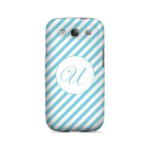 Calligraphy U on Mint Slanted Stripes - Geeks Designer Line Monogram Series Matte Case for Samsung Galaxy S3
