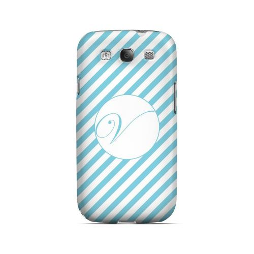 Calligraphy V on Mint Slanted Stripes - Geeks Designer Line Monogram Series Matte Case for Samsung Galaxy S3