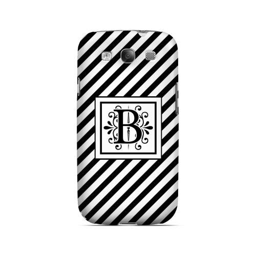 Vintage Vine B On Black Slanted Stripes - Geeks Designer Line Monogram Series Matte Case for Samsung Galaxy S3