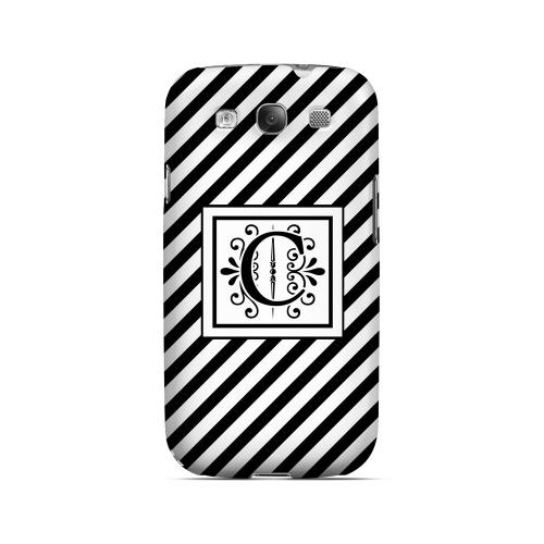 Vintage Vine C On Black Slanted Stripes - Geeks Designer Line Monogram Series Matte Case for Samsung Galaxy S3