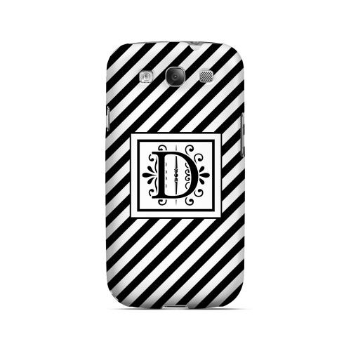 Vintage Vine D On Black Slanted Stripes - Geeks Designer Line Monogram Series Matte Case for Samsung Galaxy S3