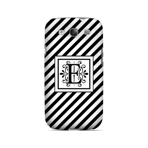 Vintage Vine E On Black Slanted Stripes - Geeks Designer Line Monogram Series Matte Case for Samsung Galaxy S3