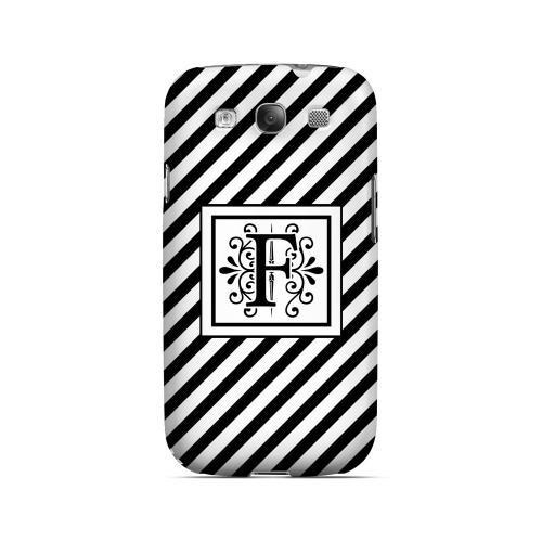 Vintage Vine F On Black Slanted Stripes - Geeks Designer Line Monogram Series Matte Case for Samsung Galaxy S3